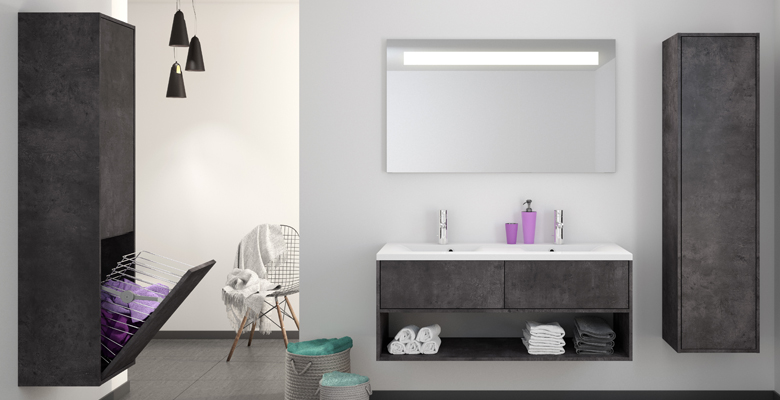 Meuble salle de bain bois design contemporain allibert for Element lavabo salle bain
